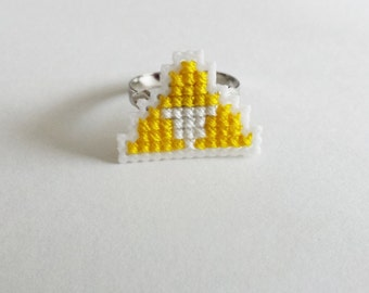 Triforce cross stitch ring