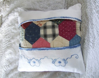 Pillow cover, Vintage, Re-purposed, Linen and Quilt fabric, 14x14