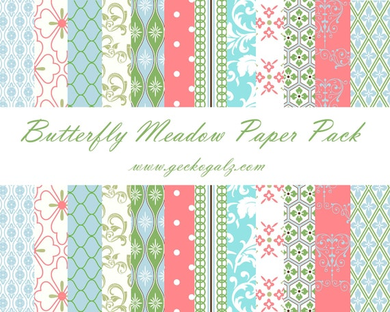 Butterfly Meadow Digital Paper Pack
