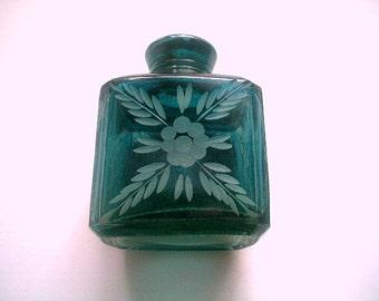 Antique Etched Apothecary Bottle or Perfume Cologne Bottle Cobalt Blue