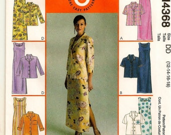 A Sleeveless Straight Maxi-Dress and Short or Long Sleeve Button Front Jacket Pattern for Women: Uncut -  Sizes 12-14-16-18 ~ McCall's 4368