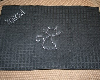 """Cat Dish Mat """"MEOW"""" black with gray machine embroidery design"""