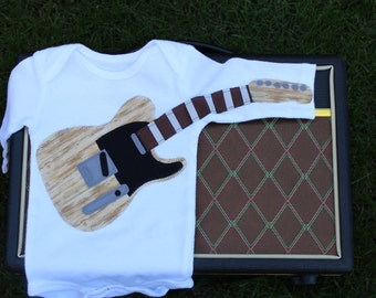 Wood Grain Electric Guitar Outfit / Guitar Bodysuit / Electric Guitar / Baby Shower Gift / Musical Gift / Dress Up / Air Guitar /Baby Outfit