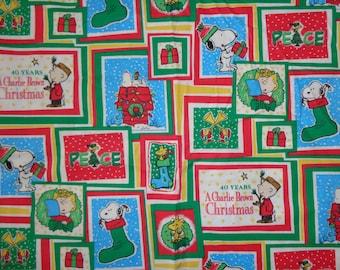Peanuts 40th Anniversary Blocked Christmas Cotton Fabric by the Half Yard