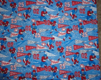 Blue/Red Football Flannel Fabric by the Yard