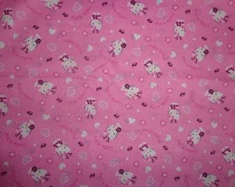 Pink Ladybug Heart Hello Kitty Fabric by the Yard