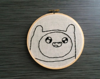 Simplisitc Finn The Human from Adventure Time Embroidery Hoop