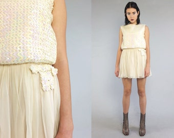 Vtg 60s Pastel Silk Sequin Iridescent Silk Mini Dress XS S