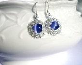 Dainty silver filigree cats eye earrings, classic drop earrings, victorian earrings, elegant, purple, pink, green, blue