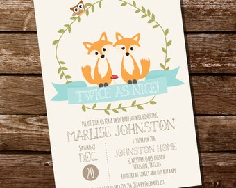 Woodland Twin Baby Shower Invitation for a Boy or Girl - Instantly Downloadable and Editable File - Personalize at home with Adobe Reader