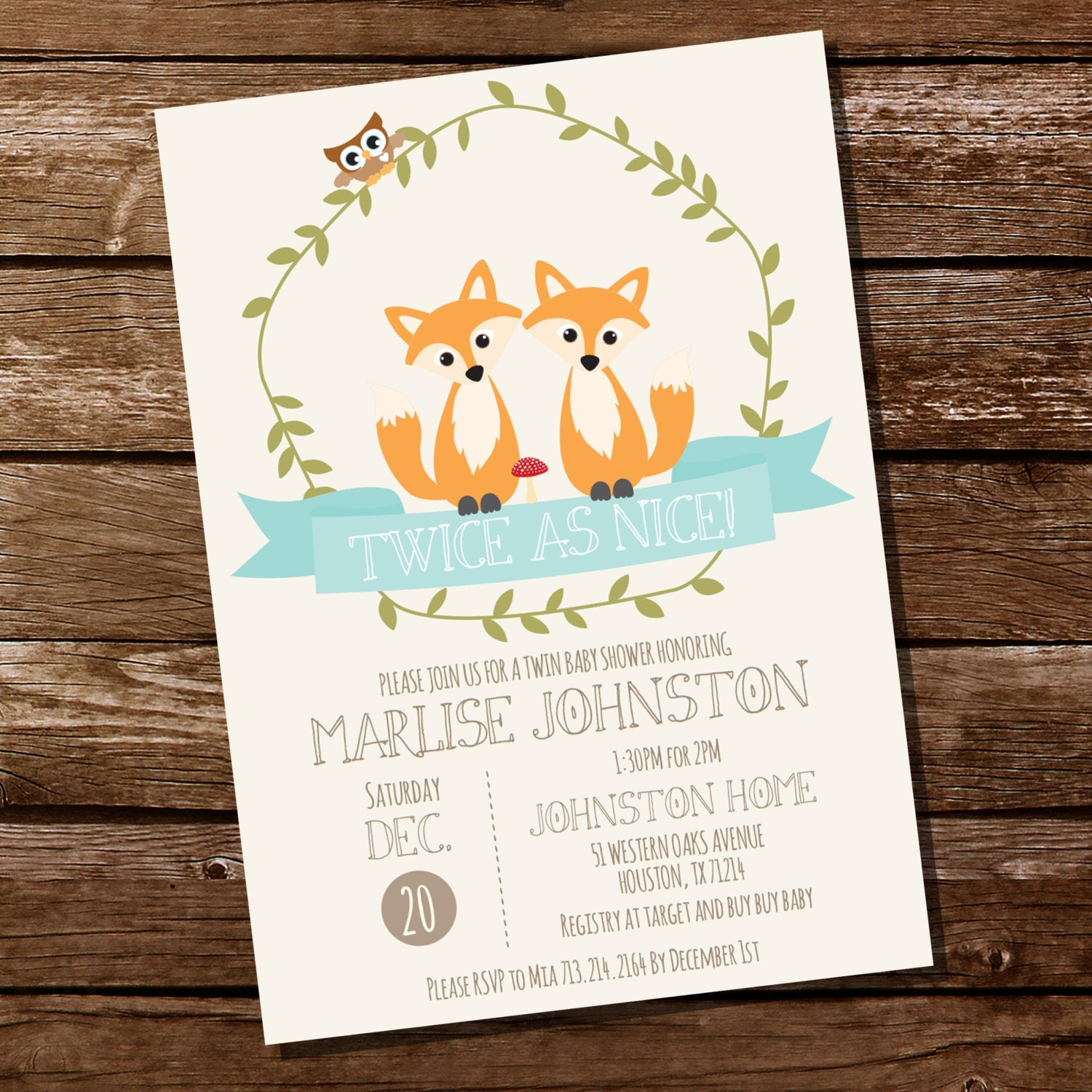 woodland twin baby shower invitation for a boy or girl