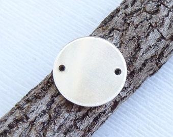 Sterling Silver Round Stamping Blank with Two Holes  -- One Piece 13mm Circle -- 22g Side Drilled