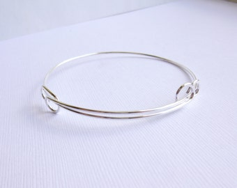 Adjustable Bangle Bracelet Component -- Fine Silver Plated -- Nunn Design