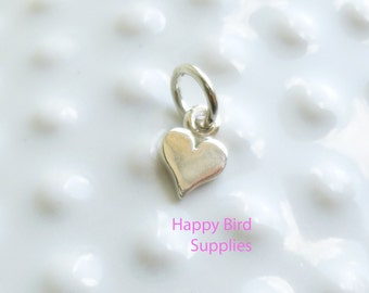 Sterling Silver Tiny Heart Charm  -- 1 Piece
