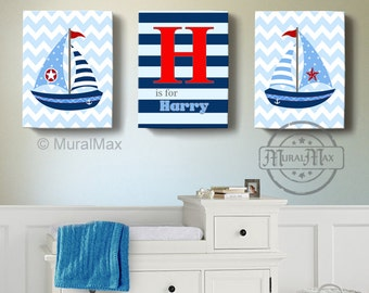 Nautical Sailboat Canvas Art, Personalized Nursery Wall Art, Baby Boy Bedroom Decor, Match with Nautical Bedding in Red and Navy blue