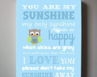 Baby Boy Nursery Art - You Are My Sunshine My Only Sunshine - Owl Canvas Art - Children Wall Art for Play Room, Baby Nursery Decor