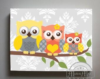 Coral and Gray Nursery Canvas Art, Whimsical Owl Canvas Art Nursery Decor - Girls wall art - OWL canvas art, Baby Nursery Art
