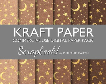 INSTANT DOWNLOAD Kraft Paper with Gold Moons and Stars Digital Collage Sheets 12x12 inch Set of 6 Digital Papers Commercial Use Kit SDTE0043