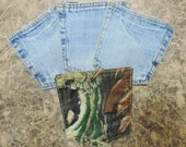 "Set of 4, 5 1/2"" x 5 3/4"" Blue Jean Denim Pockets with Camouflage, Reversible Mug/Drink Coasters, Upcycled/Recreated"