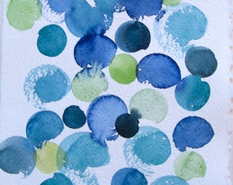 Watercolor painting original. Abstract painting. Blue dots illustration. Home decor. Small watercolor 7,5 by 11 Blue green painting