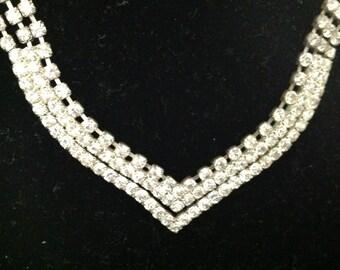 Vintage Chevron Crystals Necklace