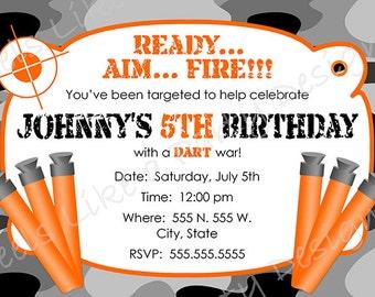Custom Dart Gun Camouflage Birthday Invitation