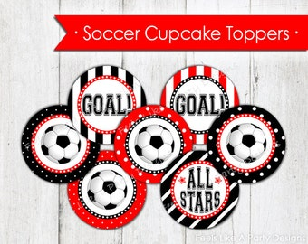 Red Soccer Cupcake Toppers - Instant Download