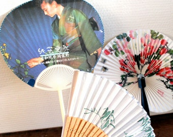 ventaglio set- three fans against the heat- hot summer - fresh air in the heat- Asian fan's- gift for everybody