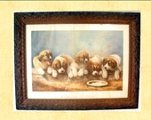 Early Hand-Carved Wood Frame with Vintage Puppy Print, Home Decor, Wall Hanging, Antique