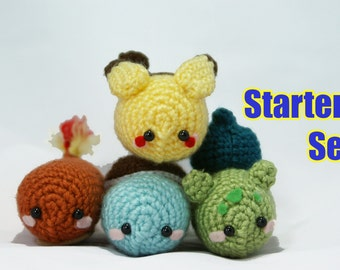 Poke'Bean Starter Set Amigurumi Pokemon, Pikachu, Bulbasaur, Charmander, Squirtle