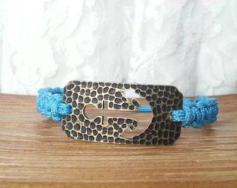 Light Blue Anchor Adjustable Paracord Bracelet