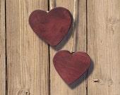 Heart on a String - Plum milk paint wood hearts decor