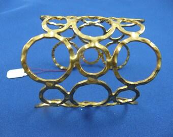 Mod Goldtone Hammered Cuff with Circular Design