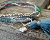 Multi Semiprecious wrap bracelet with sterling silver heart charm and tiny tassel