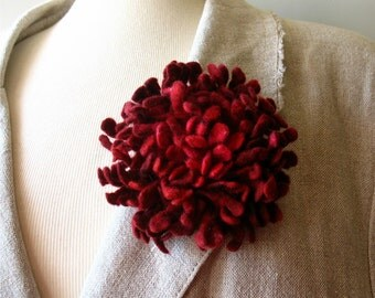 Felted flower brooch red Felted Dahlia flower brooch Felt brooch Merino wool brooch Felt jewelry Ready to ship