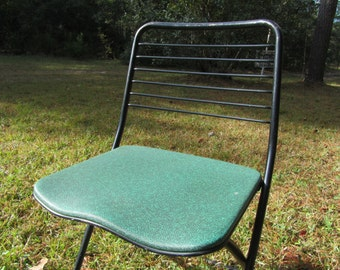 Mid Century Green Cosco Folding Chair, Chair, Retro Cosco Chair, Retro Green Metal Folding Chair, Vintage Green Chair