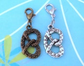 Soft Pretzel Clip On Charm or Zipper Pull (Also Keychain, Dust Plug, or Lanyard!), Antiqued Bronze or Silver - Planner Charm, Bag Charm
