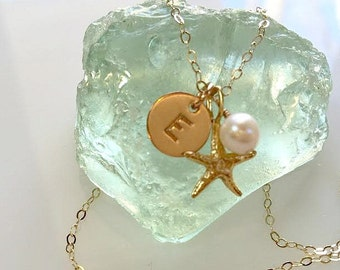 Tiny Gold Starfish Pearl and Initial Necklace ~ Dainty Personalized Beach Jewelry