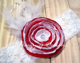 Peppermint Christmas Singed Satin Flower Headband-Photoprop-Baby Headband
