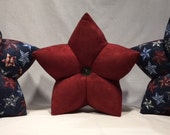 Stars on Blue (2) and Deep Red Star Pillows (1)