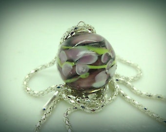 Grey and White Floral Swirling Flowers and  Petals Glass Ball 22mm with Chain