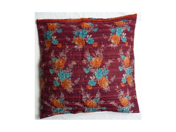 kantha euro sham // 26 x 26 pillow // boho floor by LiveLoveSmile