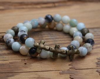 oss bracelet crosses jewelry beaded bracelet amazonite gold jewelry gold bracelet beads Mother's Day gift confirmation gift