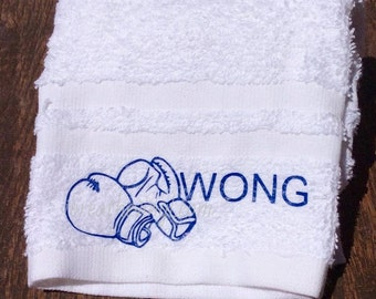 Personalized Gym Towel with Boxing Gloves - Workout towel
