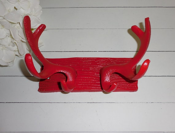 Banner red deer antler wall hook coat hook by fromshab2chic - Antler key rack ...