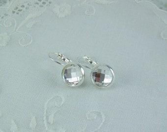 Chessboard Crystal Earrings, Crystal Earrings, Silver Leverback Earrings, April Birthstone, Birthstone Earrings, Bezel Set Crystal Earrings
