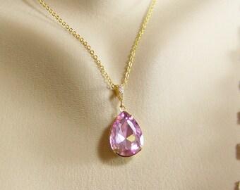Light Pink Crystal Teardrop Necklace, Pink Crystal Necklace, Prog Set Teardrop, October Birthstone, Birthstone Necklace, Pink Teardrop