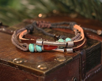 Southwestern Style Leather Bracelet with Howlite and Metal Beads