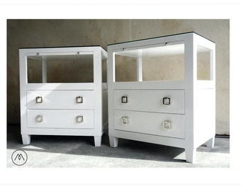 BUILT TO ORDER // Pair of Lacquered Modern Nightstands with Glass Top