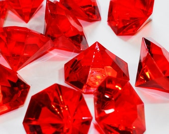 """1"""" Red Acrylic Flat Head Diamond Gem Table Scatter Vase Filler Minecraft Pirate Gems Treasure Jewels Christmas Decorations HP1088L"""